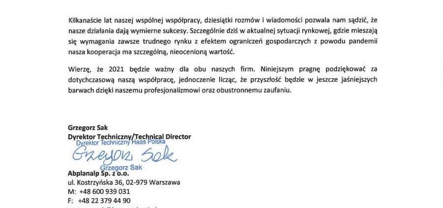 List referencyjny od Abplanalp